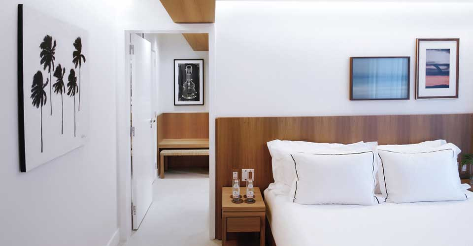 Modern and clean bedroom at the Janeiro Hotel, in Rio de Janeiro, Brazil