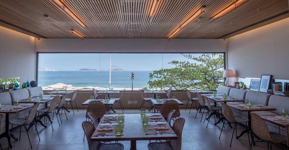 Restaurant with an ocean view at the Janeiro Hotel in Rio de Janeiro, Brazil