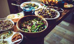 Salad buffet in a Brazilian restaurant