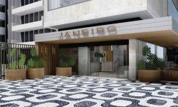 The facade of the stylish Janeiro hotel in Rio de Janeiro, Leblon Beach