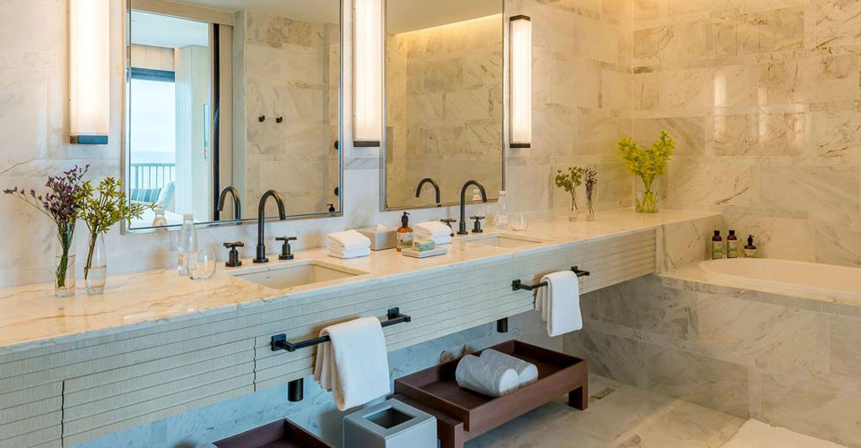 Bathrooms at the Grand Hyatt are classically elegant marble affairs with plenty of space.