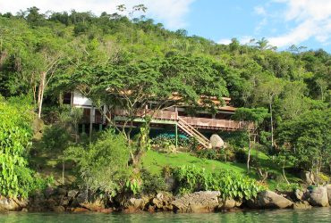 View of Casa Cairucu from the water in Paraty Brazil