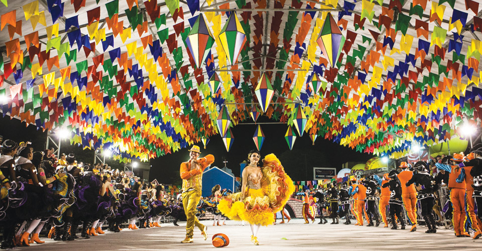 The traditional quadrilha dances during the Brazilian festas juninas