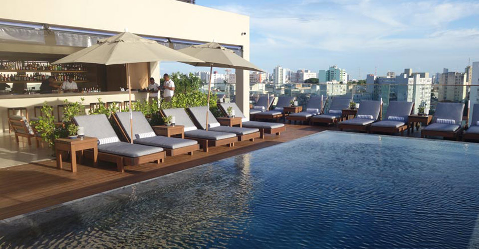 Stylish pool and bar at Fasano Salvador