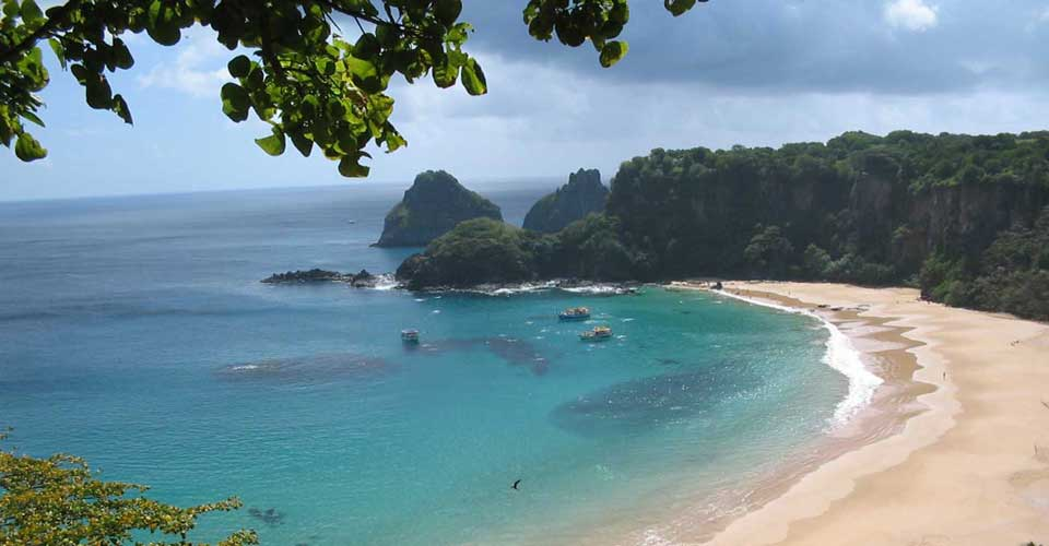 Classic view of the stunning beaches on Fernando de Noronha